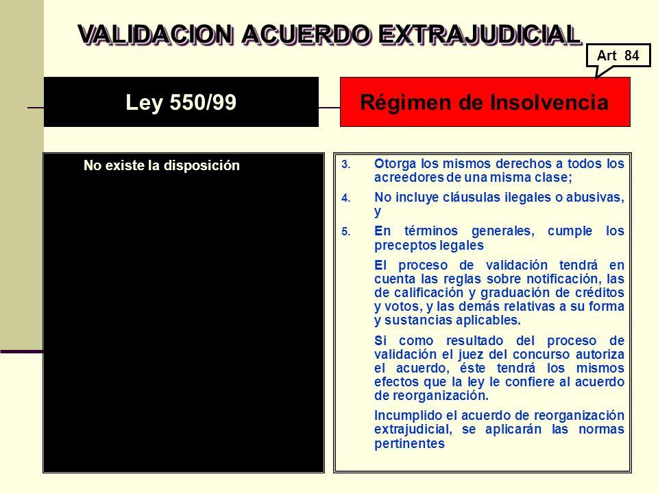 VALIDACION ACUERDO EXTRAJUDICIAL No existe la disposición 3.
