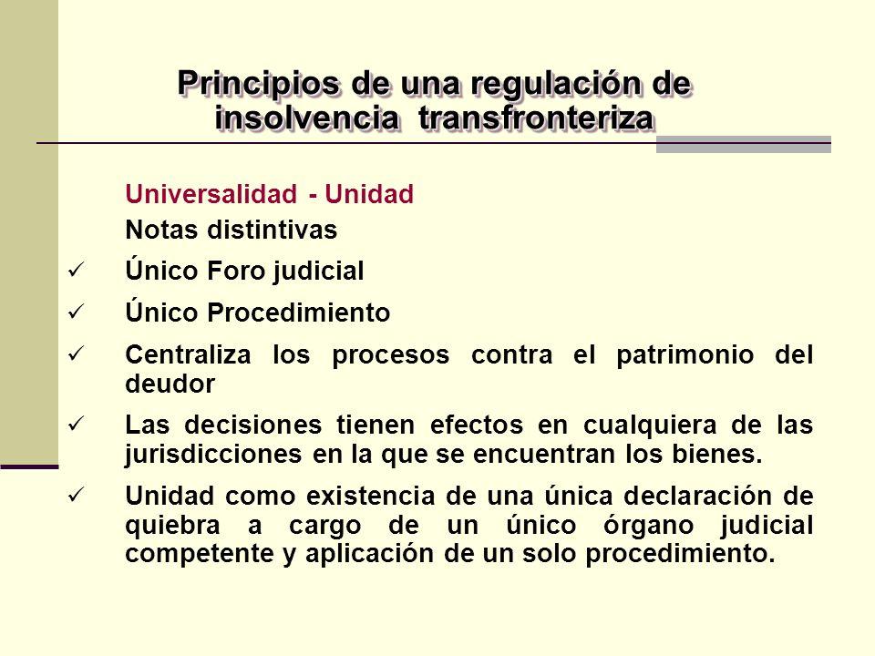 Principios de una regulación de insolvencia transfronteriza Universalidad - Unidad Notas distintivas Único Foro judicial Único Procedimiento Centraliza los procesos contra el patrimonio del deudor Las decisiones tienen efectos en cualquiera de las jurisdicciones en la que se encuentran los bienes.