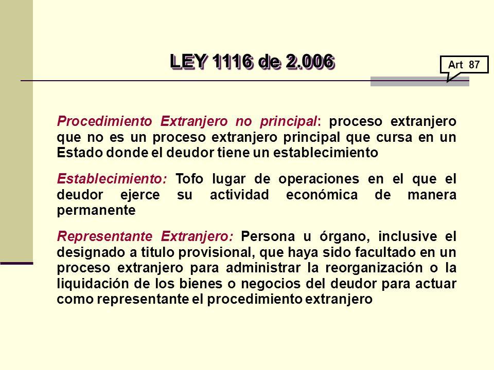 Procedimiento Extranjero no principal: proceso extranjero que no es un proceso extranjero principal que cursa en un Estado donde el deudor tiene un establecimiento Establecimiento: Tofo lugar de operaciones en el que el deudor ejerce su actividad económica de manera permanente Representante Extranjero: Persona u órgano, inclusive el designado a titulo provisional, que haya sido facultado en un proceso extranjero para administrar la reorganización o la liquidación de los bienes o negocios del deudor para actuar como representante el procedimiento extranjero LEY 1116 de 2.006 LEY 1116 de 2.006 Art 87