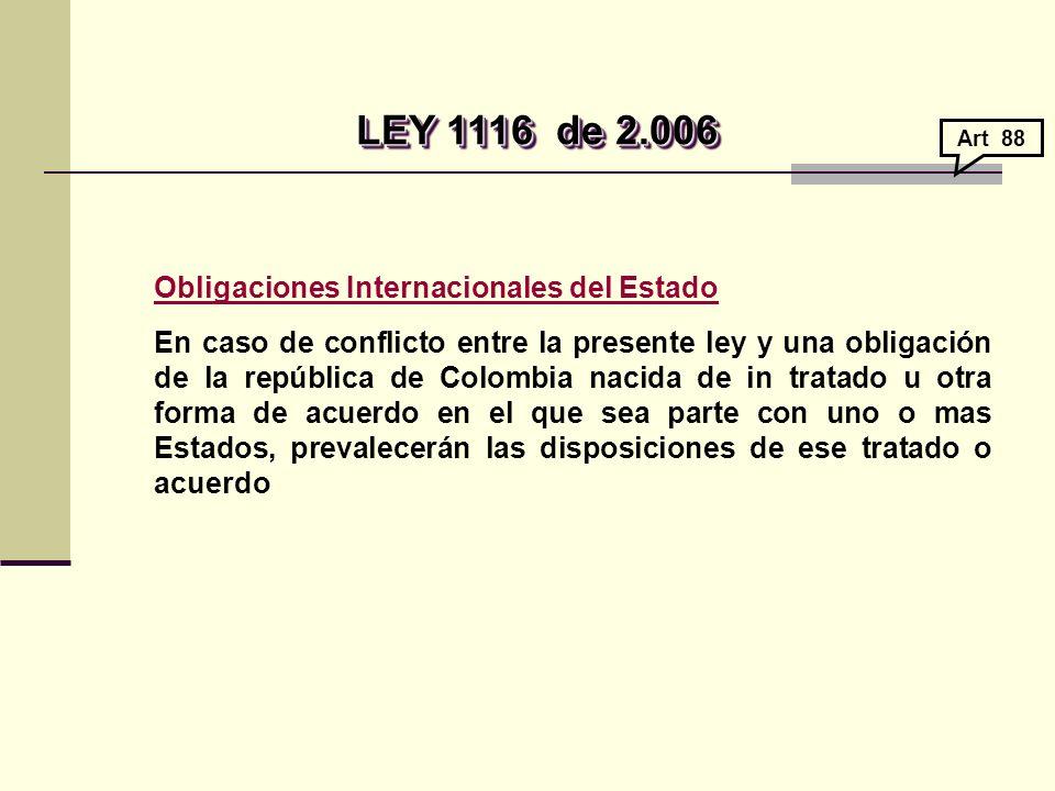 LEY 1116de 2.006 LEY 1116de 2.006 Obligaciones Internacionales del Estado En caso de conflicto entre la presente ley y una obligación de la república de Colombia nacida de in tratado u otra forma de acuerdo en el que sea parte con uno o mas Estados, prevalecerán las disposiciones de ese tratado o acuerdo Art 88