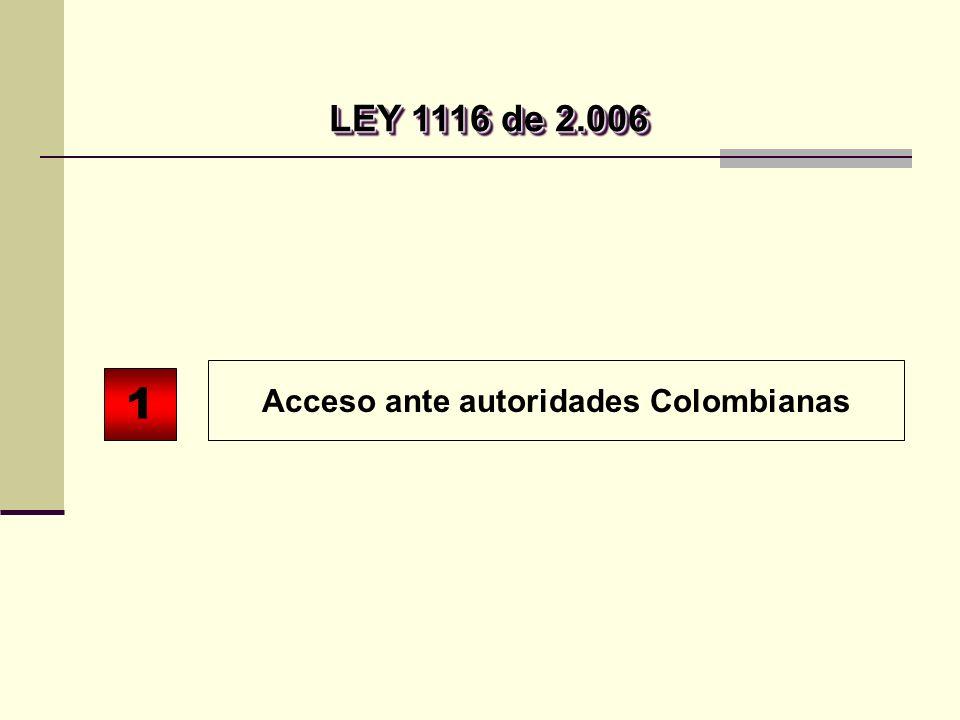Acceso ante autoridades Colombianas 1 LEY 1116 de 2.006 LEY 1116 de 2.006