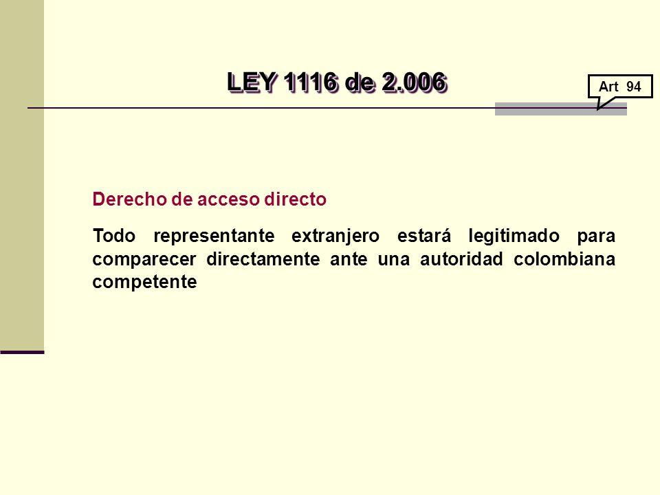 Derecho de acceso directo Todo representante extranjero estará legitimado para comparecer directamente ante una autoridad colombiana competente LEY 1116 de 2.006 LEY 1116 de 2.006 Art 94