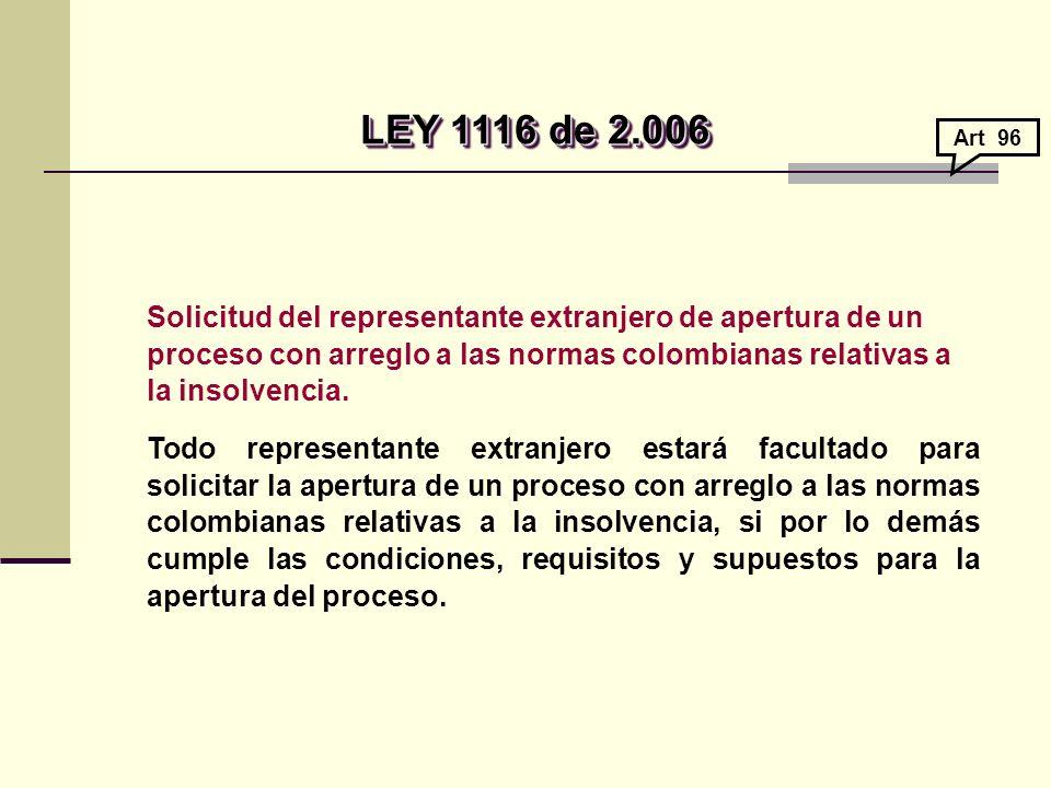 Solicitud del representante extranjero de apertura de un proceso con arreglo a las normas colombianas relativas a la insolvencia.