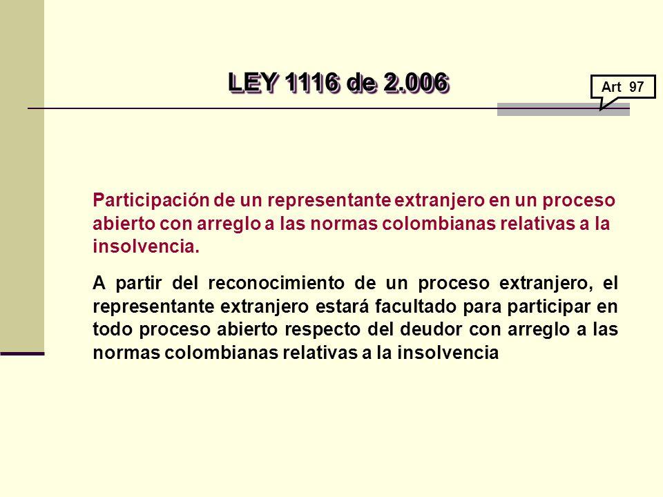 Participación de un representante extranjero en un proceso abierto con arreglo a las normas colombianas relativas a la insolvencia.