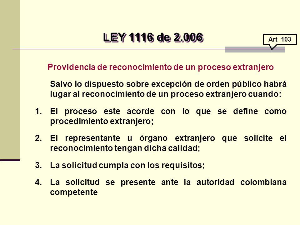 Providencia de reconocimiento de un proceso extranjero Salvo lo dispuesto sobre excepción de orden público habrá lugar al reconocimiento de un proceso extranjero cuando: 1.El proceso este acorde con lo que se define como procedimiento extranjero; 2.El representante u órgano extranjero que solicite el reconocimiento tengan dicha calidad; 3.La solicitud cumpla con los requisitos; 4.La solicitud se presente ante la autoridad colombiana competente LEY 1116 de 2.006 LEY 1116 de 2.006 Art 103