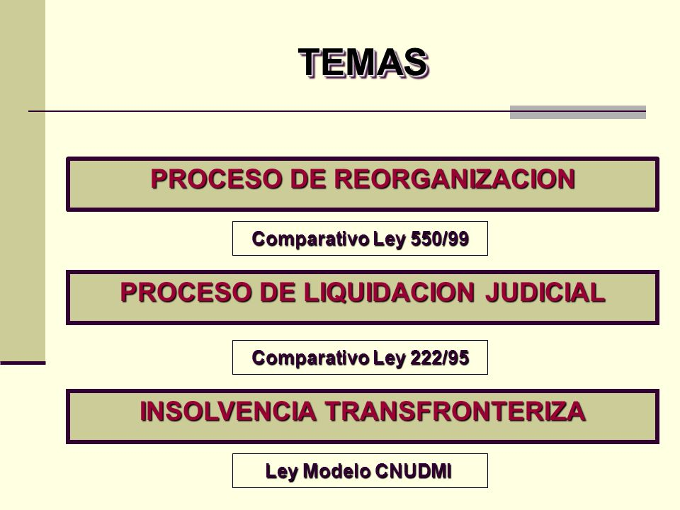 La ley modelo preserva la posibilidad de excluir o limitar, por imperativo de orden público, toda medida a favor de un procedimiento extranjero Posee la flexibilidad formal de un régimen modelo respetuoso de los diversos enfoques del derecho interno de la insolvencia El reconocimiento de un procedimiento extranjero no impide que los acreedores nacionales inicien o prosigan un procedimiento colectivo de insolvencia Principales aspectos de la Ley Modelo de la CNUDMI Principales aspectos de la Ley Modelo de la CNUDMI