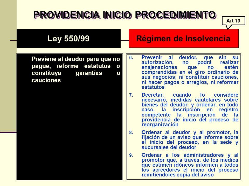 PROVIDENCIA INICIO PROCEDIMIENTO Previene al deudor para que no pague, reforme estatutos o constituya garantías o cauciones 6.