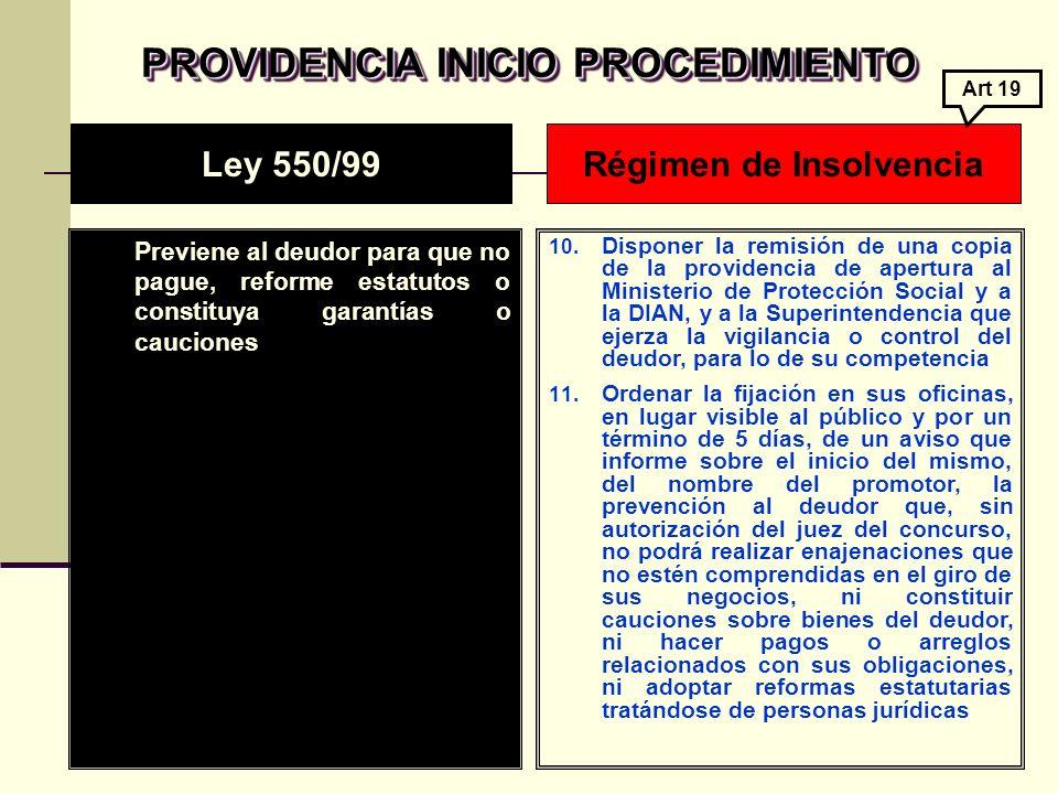PROVIDENCIA INICIO PROCEDIMIENTO Previene al deudor para que no pague, reforme estatutos o constituya garantías o cauciones 10.