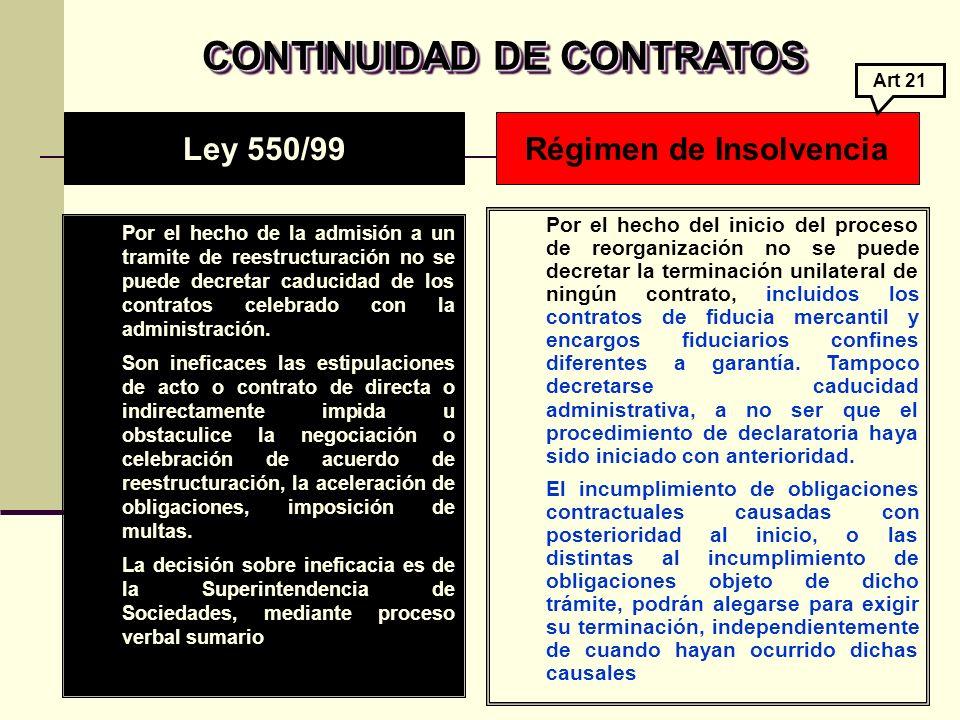 CONTINUIDAD DE CONTRATOS CONTINUIDAD DE CONTRATOS Por el hecho de la admisión a un tramite de reestructuración no se puede decretar caducidad de los contratos celebrado con la administración.