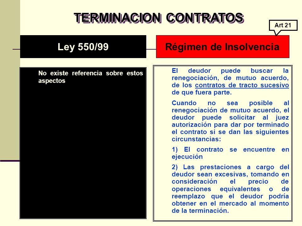 TERMINACION CONTRATOS TERMINACION CONTRATOS No existe referencia sobre estos aspectos El deudor puede buscar la renegociación, de mutuo acuerdo, de los contratos de tracto sucesivo de que fuera parte.