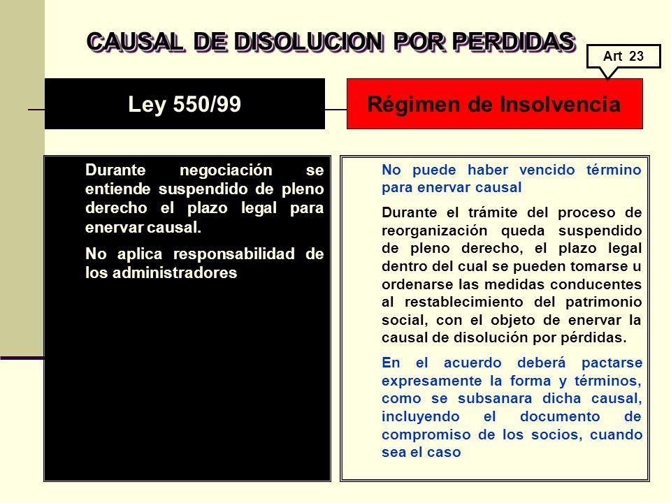 CAUSAL DE DISOLUCION POR PERDIDAS CAUSAL DE DISOLUCION POR PERDIDAS Durante negociación se entiende suspendido de pleno derecho el plazo legal para enervar causal.