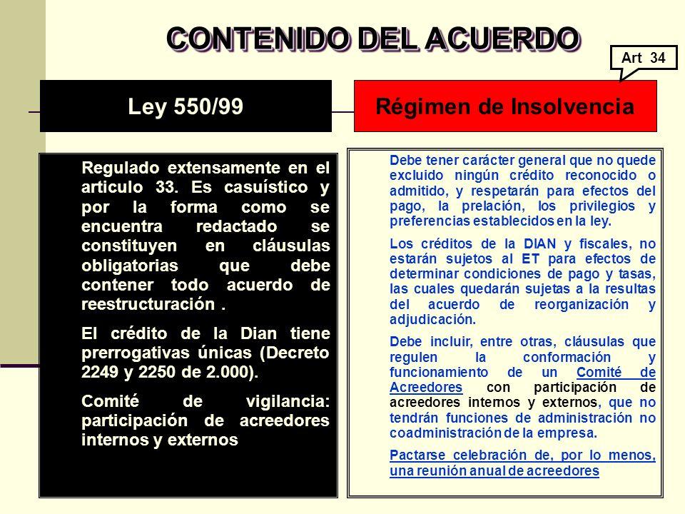 CONTENIDO DEL ACUERDO CONTENIDO DEL ACUERDO Regulado extensamente en el articulo 33.