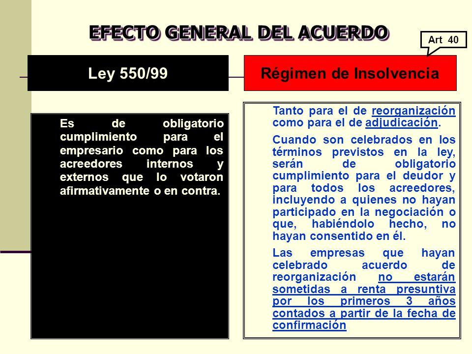 EFECTO GENERAL DEL ACUERDO Es de obligatorio cumplimiento para el empresario como para los acreedores internos y externos que lo votaron afirmativamente o en contra.