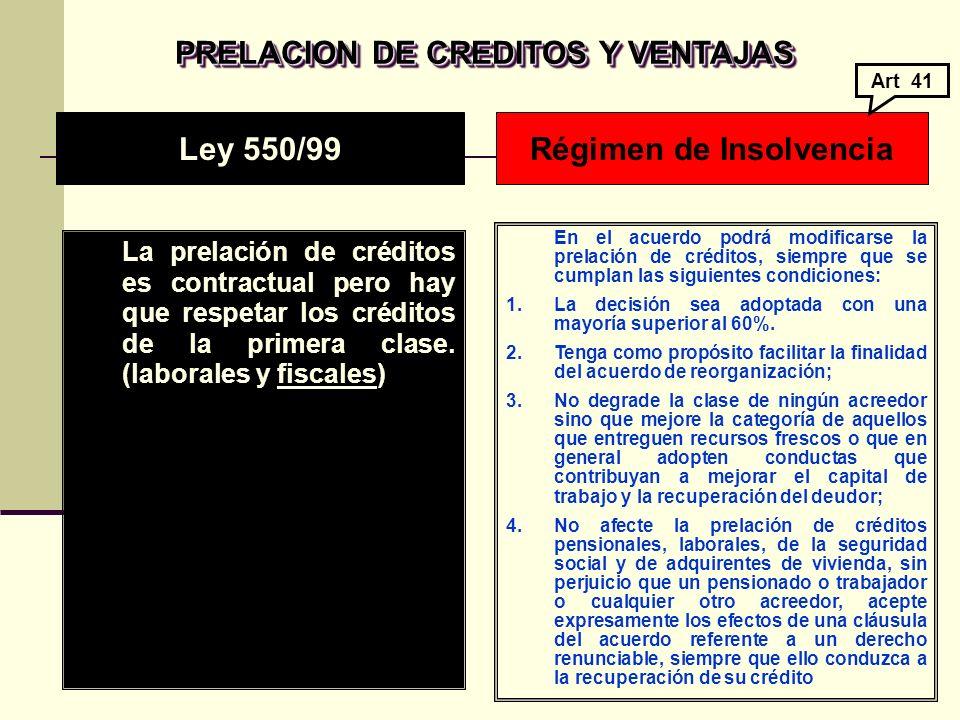 PRELACION DE CREDITOS Y VENTAJAS La prelación de créditos es contractual pero hay que respetar los créditos de la primera clase.