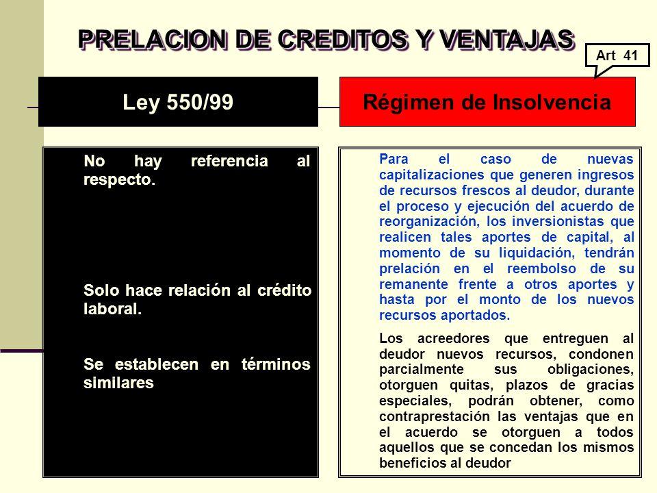 PRELACION DE CREDITOS Y VENTAJAS No hay referencia al respecto.