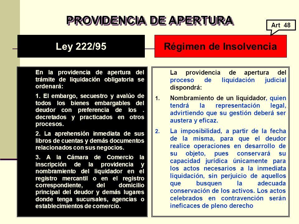 PROVIDENCIA DE APERTURA PROVIDENCIA DE APERTURA En la providencia de apertura del trámite de liquidación obligatoria se ordenará: 1.