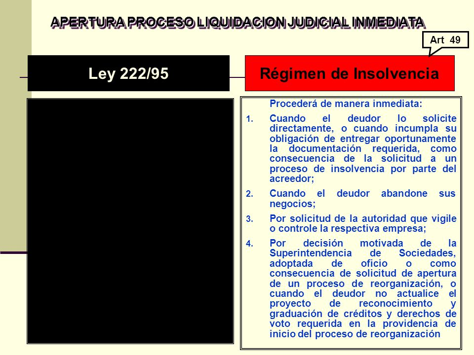 APERTURA PROCESO LIQUIDACION JUDICIAL INMEDIATA APERTURA PROCESO LIQUIDACION JUDICIAL INMEDIATA Procederá de manera inmediata: 1.