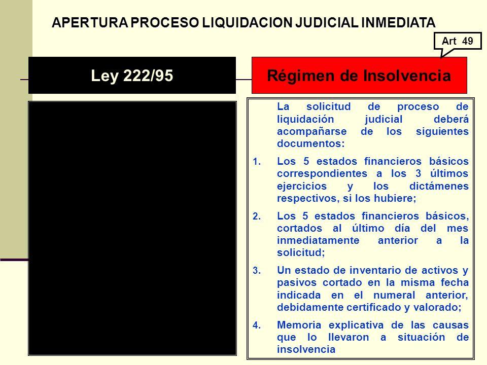 APERTURA PROCESO LIQUIDACION JUDICIAL INMEDIATA APERTURA PROCESO LIQUIDACION JUDICIAL INMEDIATA La solicitud de proceso de liquidación judicial deberá acompañarse de los siguientes documentos: 1.