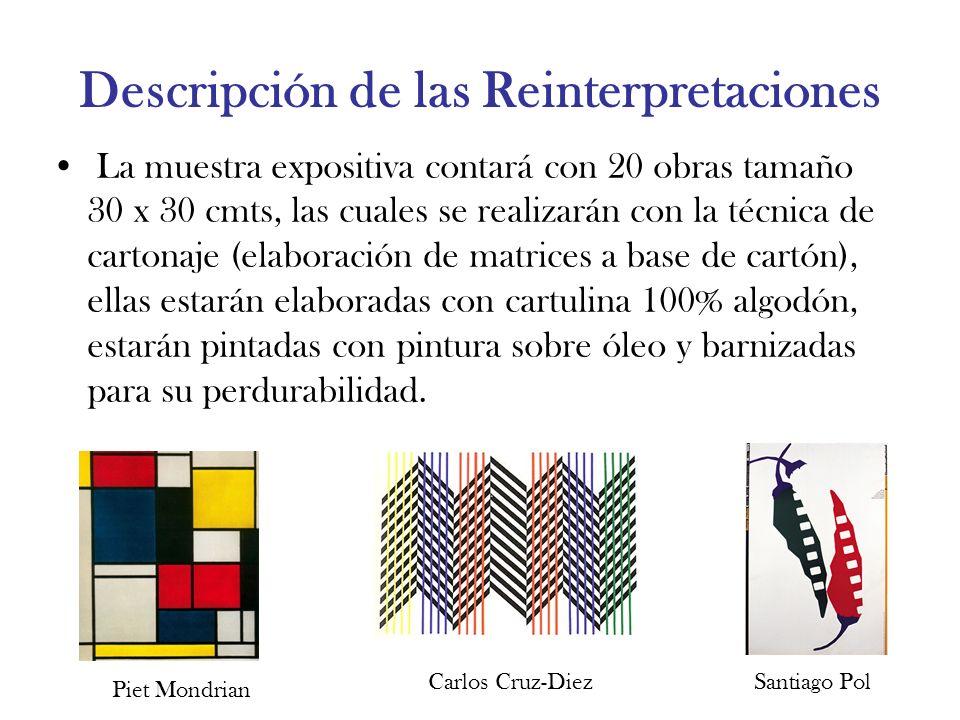 Descripción de las Reinterpretaciones La muestra expositiva contará con 20 obras tamaño 30 x 30 cmts, las cuales se realizarán con la técnica de carto