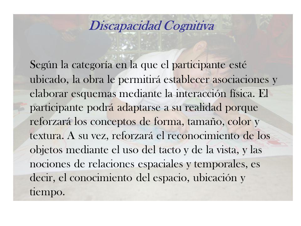 Discapacidad Cognitiva Según la categoría en la que el participante esté ubicado, la obra le permitirá establecer asociaciones y elaborar esquemas med