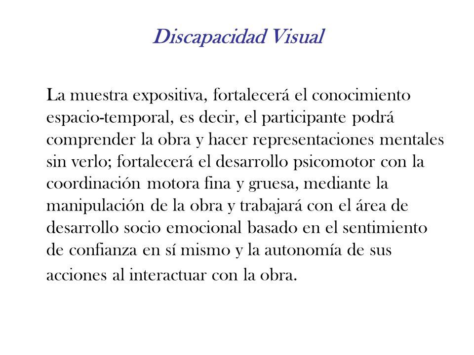 Discapacidad Visual La muestra expositiva, fortalecerá el conocimiento espacio-temporal, es decir, el participante podrá comprender la obra y hacer re
