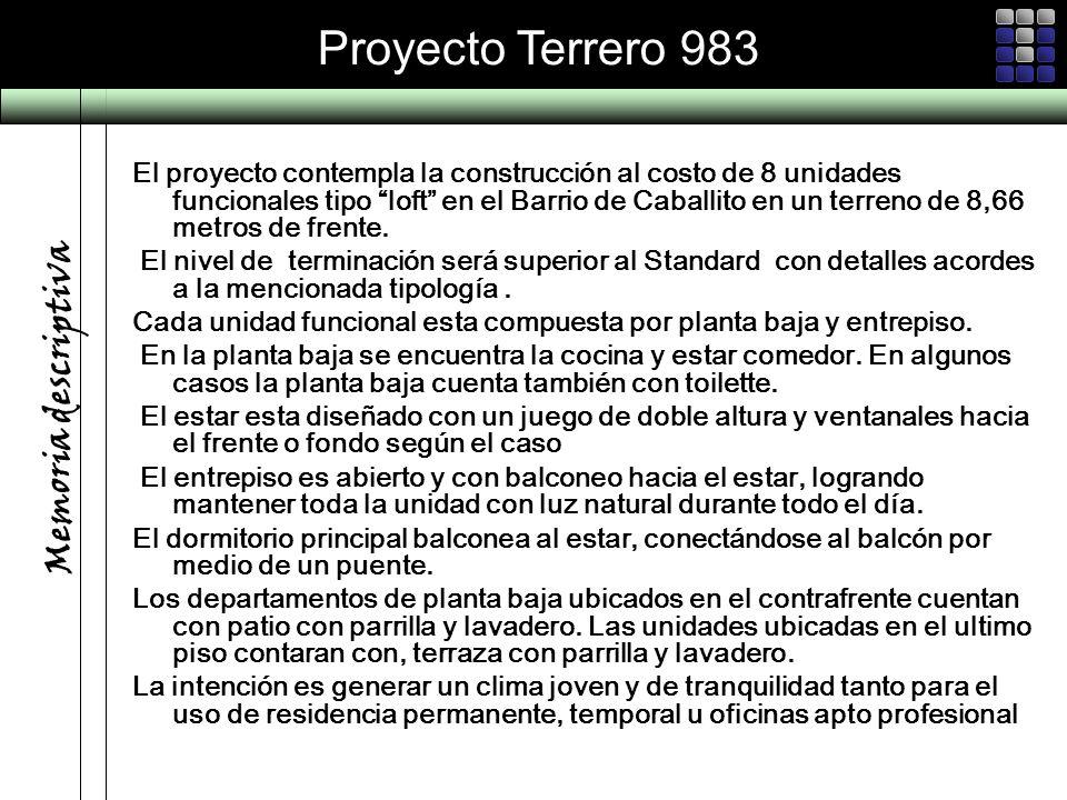 Proyecto Terrero 983 El proyecto contempla la construcción al costo de 8 unidades funcionales tipo loft en el Barrio de Caballito en un terreno de 8,6