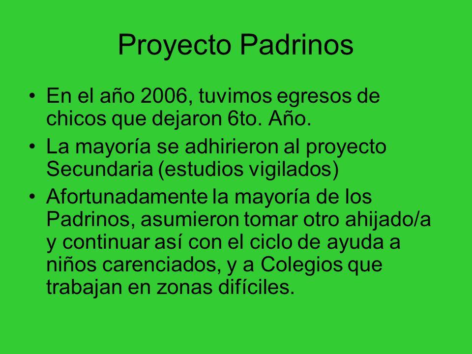 Proyecto Padrinos En el año 2006, tuvimos egresos de chicos que dejaron 6to. Año. La mayoría se adhirieron al proyecto Secundaria (estudios vigilados)