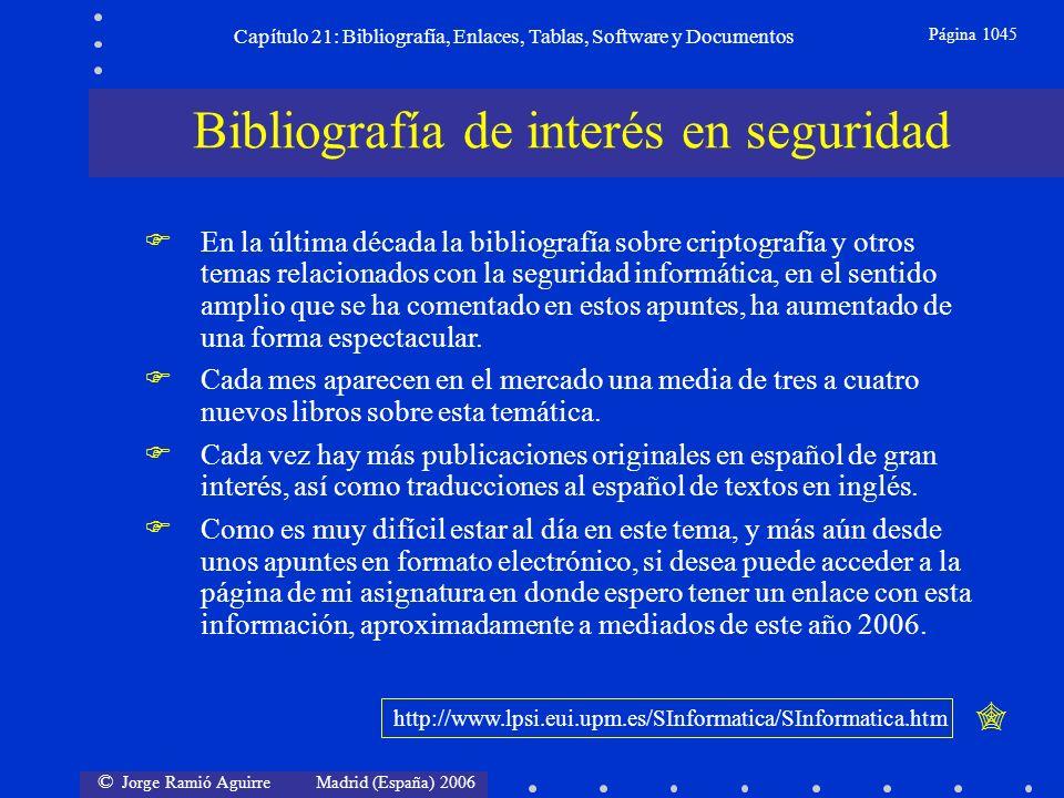 © Jorge Ramió Aguirre Madrid (España) 2006 Capítulo 21: Bibliografía, Enlaces, Tablas, Software y Documentos Página 1045 Bibliografía de interés en se