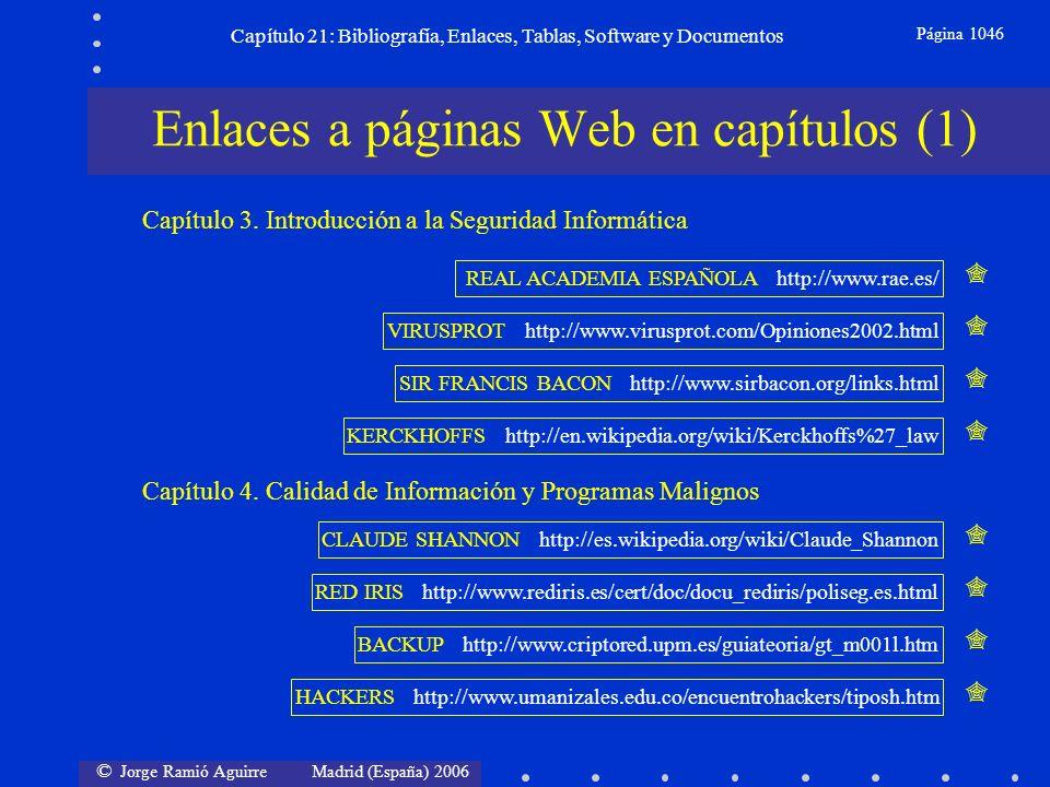 © Jorge Ramió Aguirre Madrid (España) 2006 Capítulo 21: Bibliografía, Enlaces, Tablas, Software y Documentos Página 1046 Enlaces a páginas Web en capí
