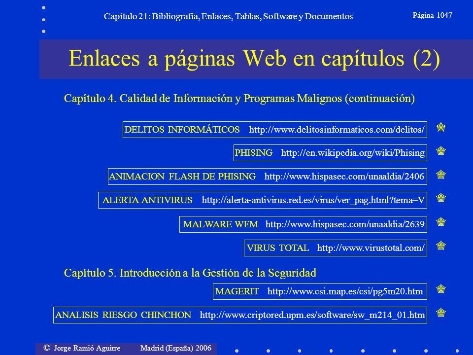 © Jorge Ramió Aguirre Madrid (España) 2006 Capítulo 21: Bibliografía, Enlaces, Tablas, Software y Documentos Página 1047 Enlaces a páginas Web en capí