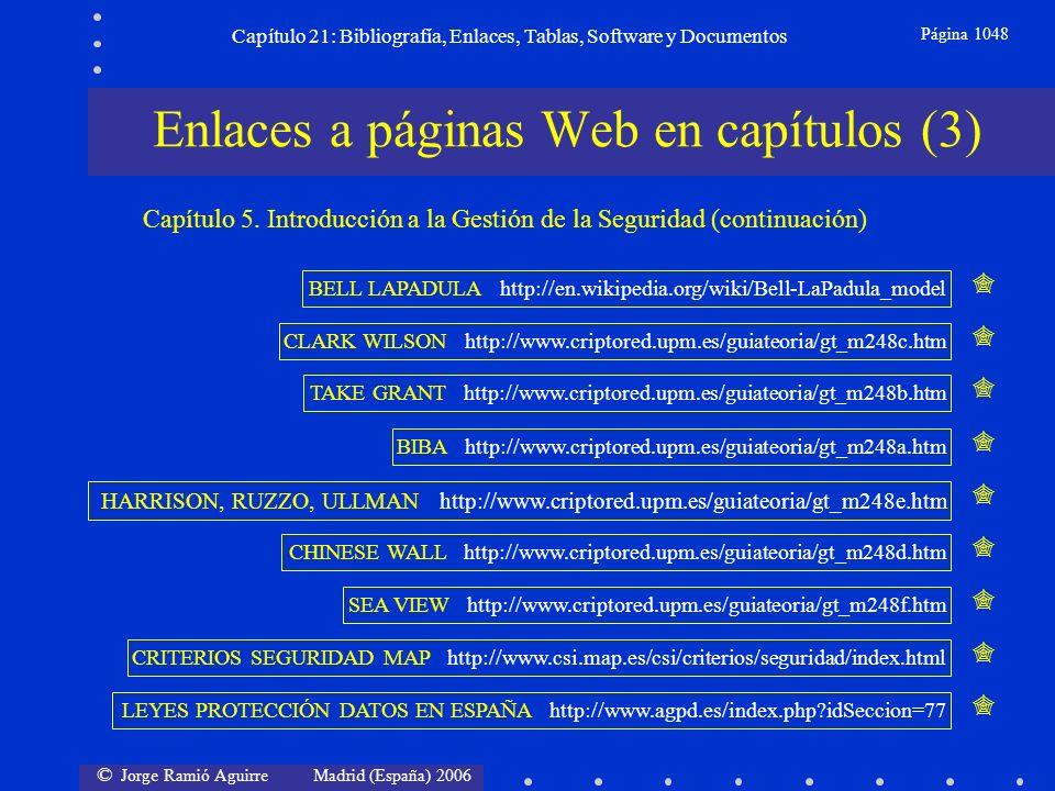 © Jorge Ramió Aguirre Madrid (España) 2006 Capítulo 21: Bibliografía, Enlaces, Tablas, Software y Documentos Página 1048 Enlaces a páginas Web en capí