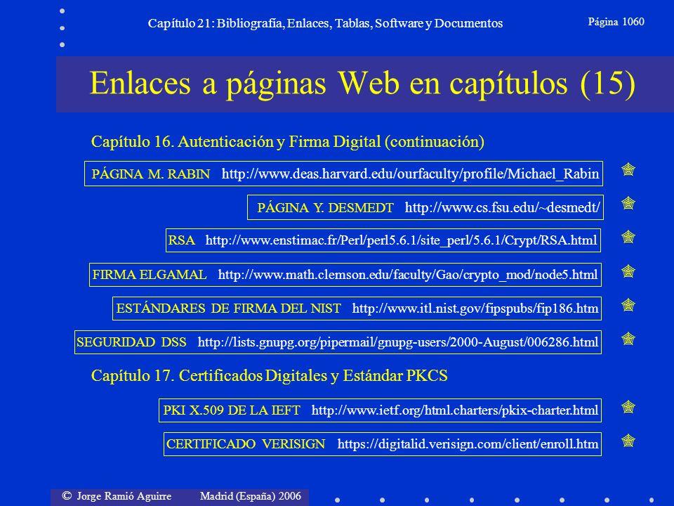 © Jorge Ramió Aguirre Madrid (España) 2006 Capítulo 21: Bibliografía, Enlaces, Tablas, Software y Documentos Página 1060 Enlaces a páginas Web en capí