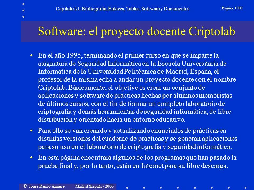 © Jorge Ramió Aguirre Madrid (España) 2006 Capítulo 21: Bibliografía, Enlaces, Tablas, Software y Documentos Página 1081 Software: el proyecto docente