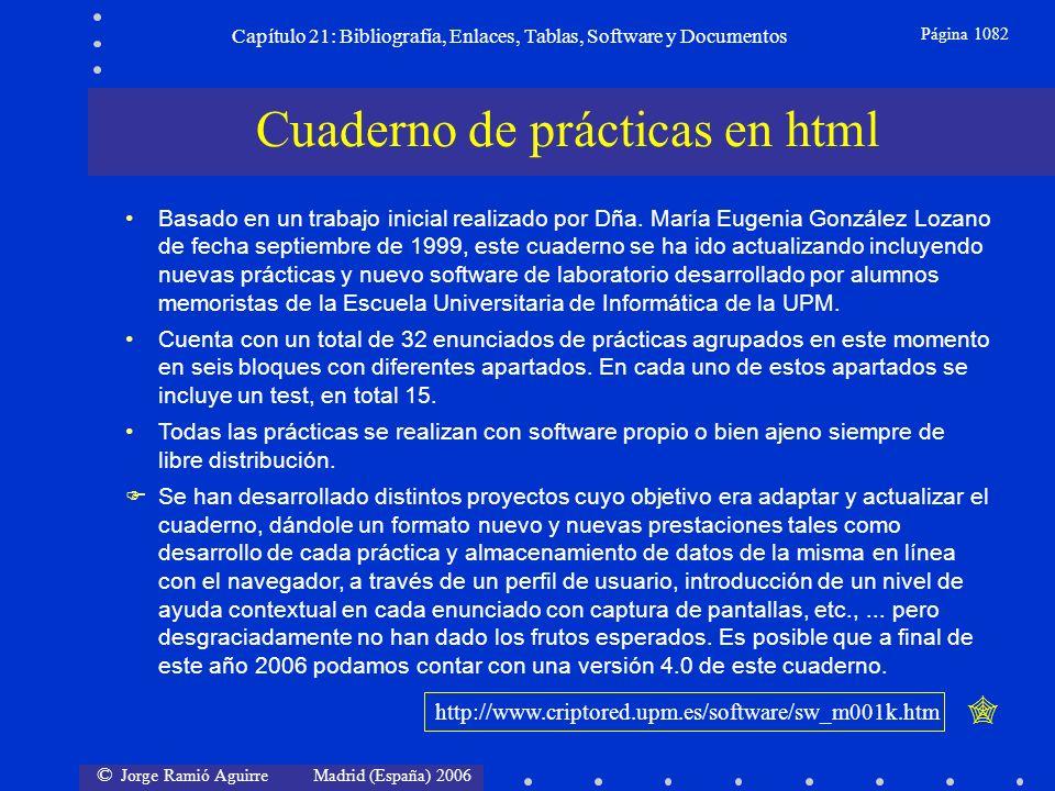 © Jorge Ramió Aguirre Madrid (España) 2006 Capítulo 21: Bibliografía, Enlaces, Tablas, Software y Documentos Página 1082 Cuaderno de prácticas en html