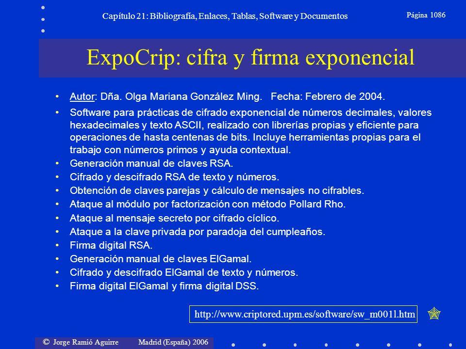 © Jorge Ramió Aguirre Madrid (España) 2006 Capítulo 21: Bibliografía, Enlaces, Tablas, Software y Documentos Página 1086 ExpoCrip: cifra y firma expon