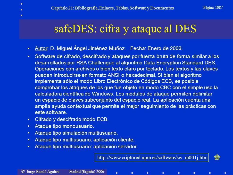 © Jorge Ramió Aguirre Madrid (España) 2006 Capítulo 21: Bibliografía, Enlaces, Tablas, Software y Documentos Página 1087 safeDES: cifra y ataque al DE