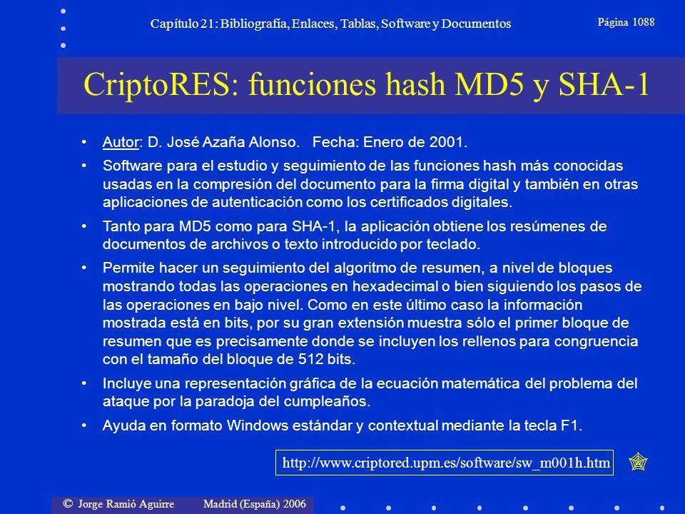 © Jorge Ramió Aguirre Madrid (España) 2006 Capítulo 21: Bibliografía, Enlaces, Tablas, Software y Documentos Página 1088 CriptoRES: funciones hash MD5