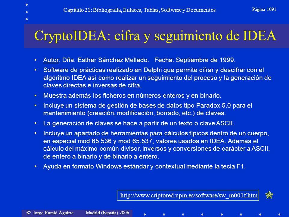 © Jorge Ramió Aguirre Madrid (España) 2006 Capítulo 21: Bibliografía, Enlaces, Tablas, Software y Documentos Página 1091 CryptoIDEA: cifra y seguimien