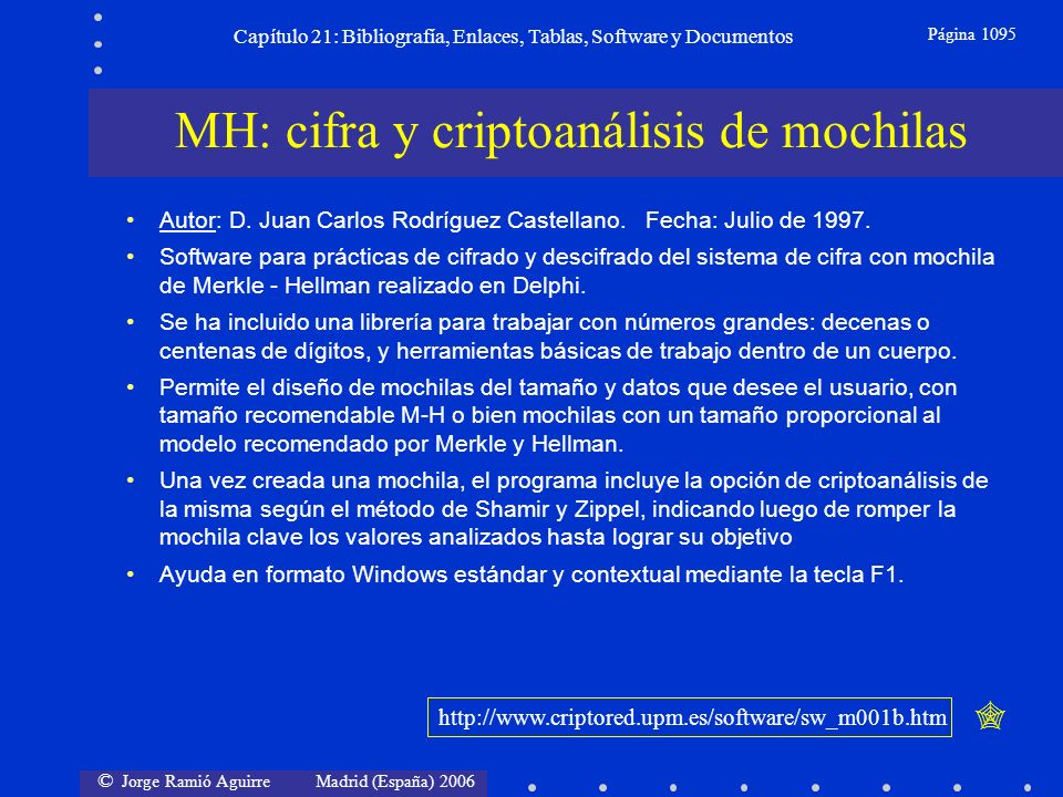 © Jorge Ramió Aguirre Madrid (España) 2006 Capítulo 21: Bibliografía, Enlaces, Tablas, Software y Documentos Página 1095 MH: cifra y criptoanálisis de