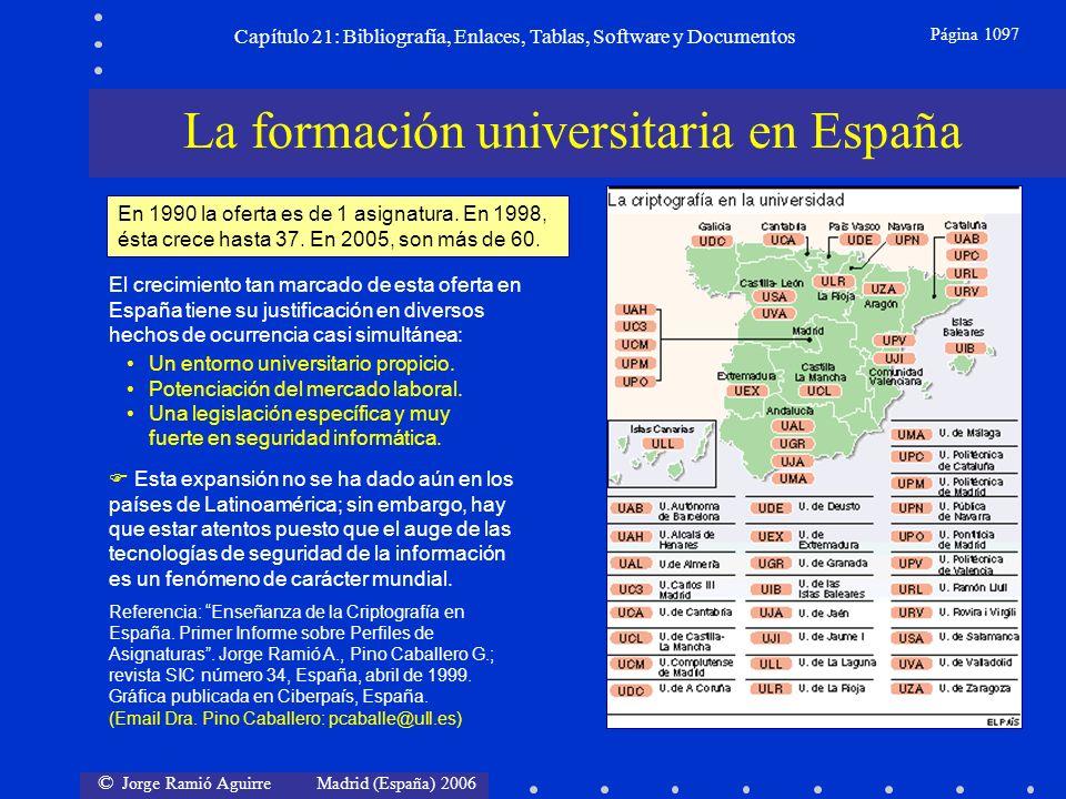 © Jorge Ramió Aguirre Madrid (España) 2006 Capítulo 21: Bibliografía, Enlaces, Tablas, Software y Documentos Página 1097 Referencia: Enseñanza de la C