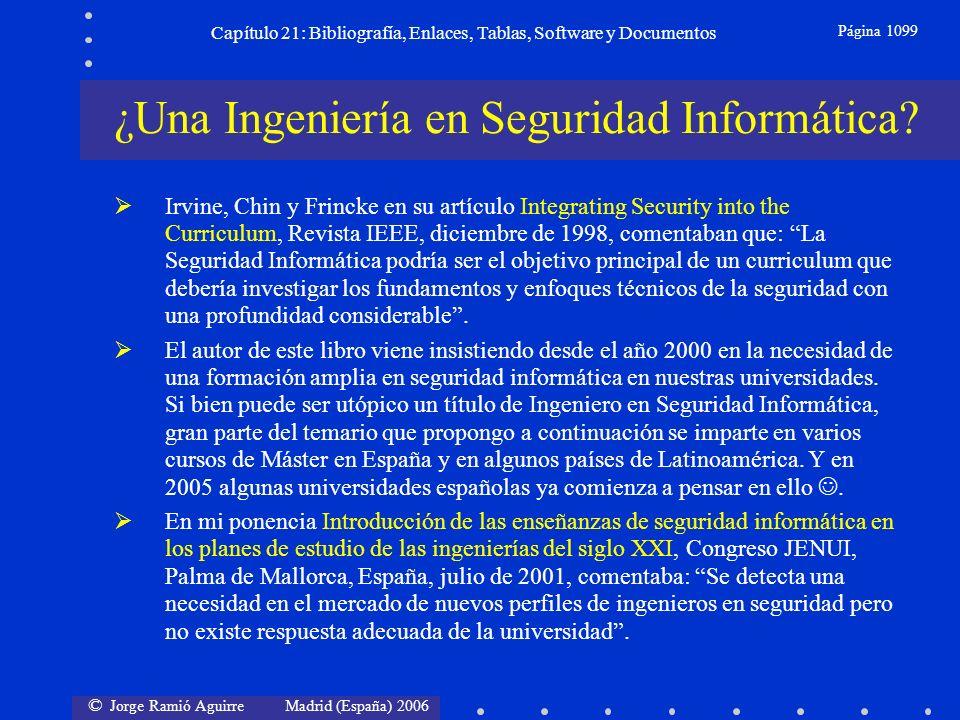 © Jorge Ramió Aguirre Madrid (España) 2006 Capítulo 21: Bibliografía, Enlaces, Tablas, Software y Documentos Página 1099 Irvine, Chin y Frincke en su