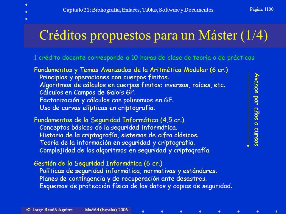 © Jorge Ramió Aguirre Madrid (España) 2006 Capítulo 21: Bibliografía, Enlaces, Tablas, Software y Documentos Página 1100 Fundamentos y Temas Avanzados