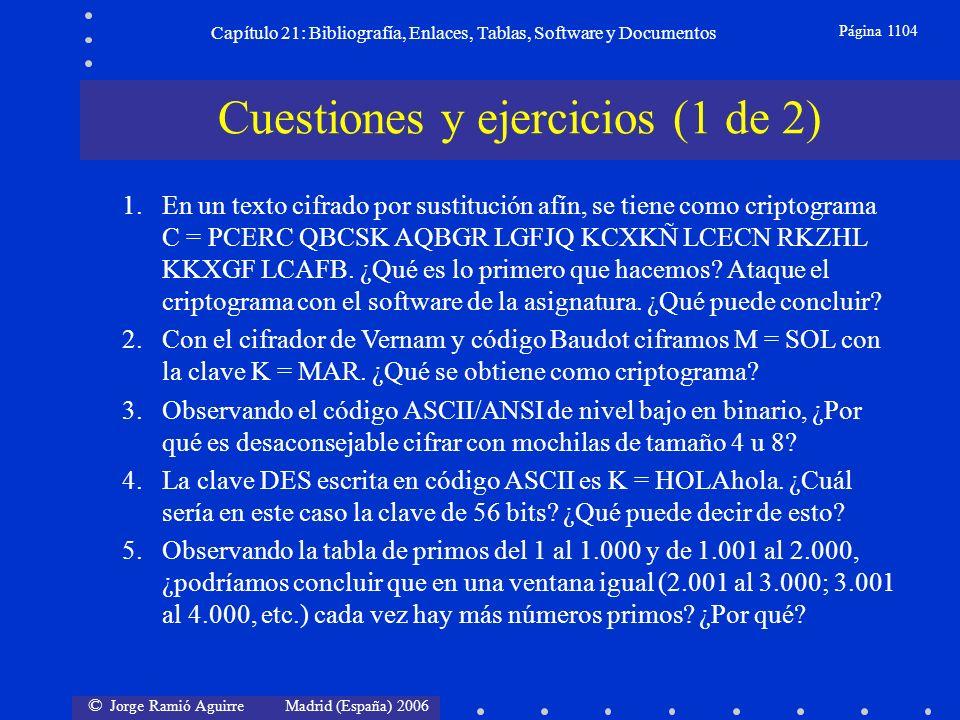 © Jorge Ramió Aguirre Madrid (España) 2006 Capítulo 21: Bibliografía, Enlaces, Tablas, Software y Documentos Página 1104 Cuestiones y ejercicios (1 de