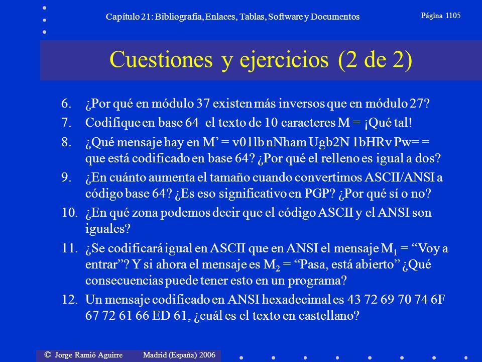 © Jorge Ramió Aguirre Madrid (España) 2006 Capítulo 21: Bibliografía, Enlaces, Tablas, Software y Documentos Página 1105 Cuestiones y ejercicios (2 de