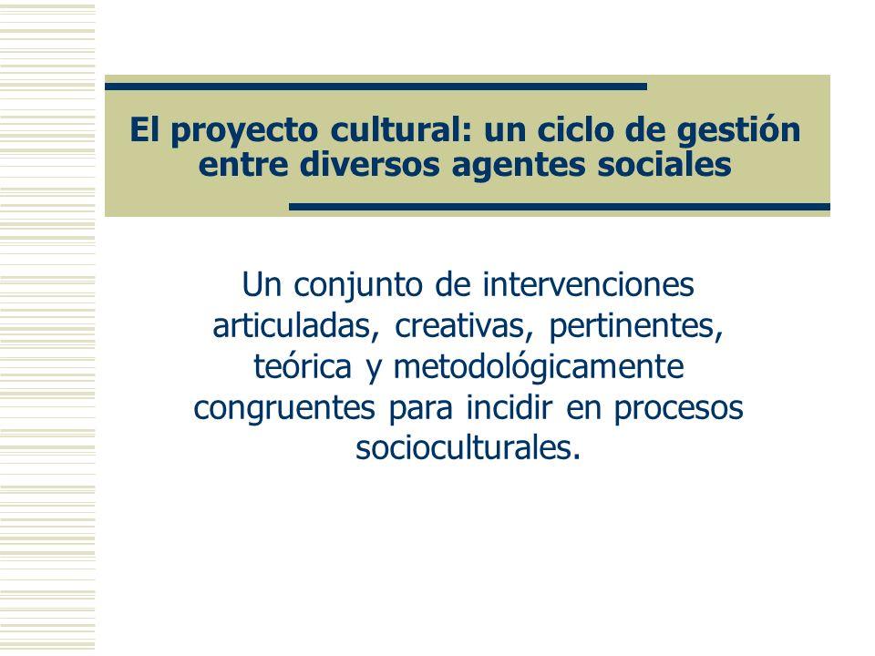 El Ciclo de Gestión Cultural La gestión cultural abarca las fases de: Diagnóstico Diseño del proyecto Planeación de su desarrollo Financiamiento Desarrollo de la intervención Difusión de procesos y resultados Evaluación y retroalimentación del proyecto cultural Documentación Reinicio del ciclo con ajustes necesarios.