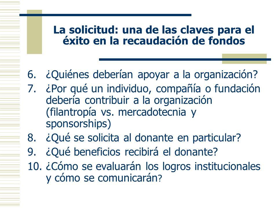 La solicitud: una de las claves para el éxito en la recaudación de fondos 6.¿Quiénes deberían apoyar a la organización.