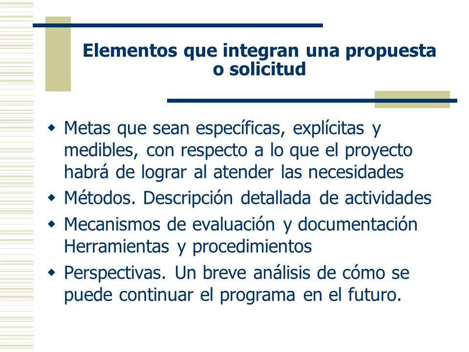 Elementos que integran una propuesta o solicitud Metas que sean específicas, explícitas y medibles, con respecto a lo que el proyecto habrá de lograr al atender las necesidades Métodos.