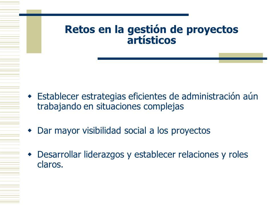 Retos en la gestión de proyectos artísticos Establecer estrategias eficientes de administración aún trabajando en situaciones complejas Dar mayor visibilidad social a los proyectos Desarrollar liderazgos y establecer relaciones y roles claros.
