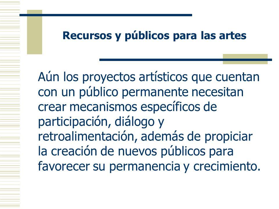 Recursos y públicos para las artes Aún los proyectos artísticos que cuentan con un público permanente necesitan crear mecanismos específicos de participación, diálogo y retroalimentación, además de propiciar la creación de nuevos públicos para favorecer su permanencia y crecimiento.