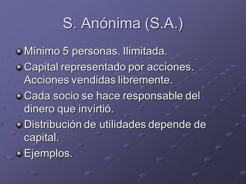 S. Anónima (S.A.) Mínimo 5 personas. Ilimitada. Capital representado por acciones. Acciones vendidas libremente. Cada socio se hace responsable del di